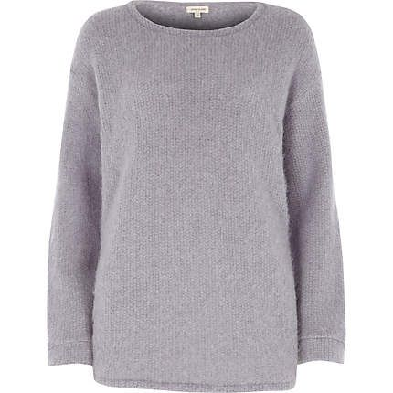Purple fluffy knitted tunic jumper £20.00 #riverisland