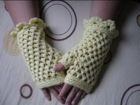 Butterfly Stitch Gloves - Left Handed Crochet Tutorial