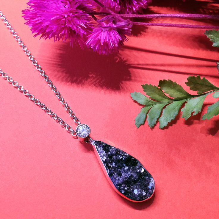 One-of-a-kind pendant necklace with high gloss druzy agate and crystal. #jewelry #jewellery #oneofakind #craftedbyhand #agate #crystal