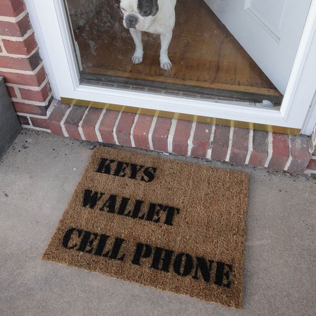 Perfect - a welcome mat that acts as a reminder! Bonus --