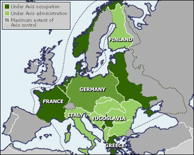 1941-1943  Germany goes on to conquer Yugoslavia and Greece and launches the invasion of the USSR in 1941.  By 1942, Nazi Germany is at the peak of its power, with most of Europe under the control of Germany and its allies.  In the USSR, Hitler's troops at first make rapid progress, advancing to the gates of Moscow and Leningrad. But the invasion turned into a war of attrition in which the German army was gradually ground down by the reviving Soviet Union.