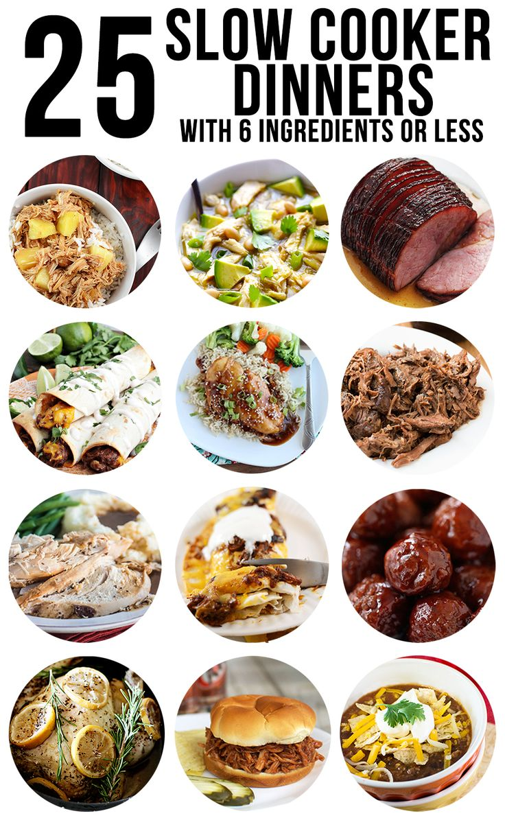Slow Cooker Dinners - We have 25 amazing slow cooker dinner recipes for you that all have only 6 ingredients or less, for the perfect easy to make dinners!