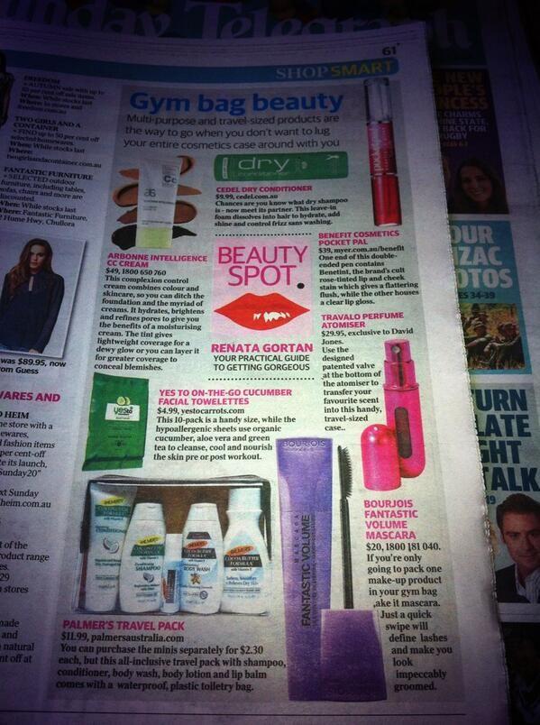 Gym bag #beauty essentials in #ShopSMART @AUS_Arbonne @yestocarrots @Bourjois Australia @Travalo @Benefitaus