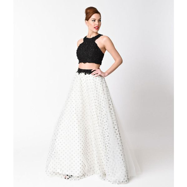 Black & White Beaded Tulle Two Piece Dress ($228) ❤ liked on Polyvore featuring dresses, halter prom dresses, halter cocktail dress, black and white dress, black and white polka dot dress and black and white prom dresses