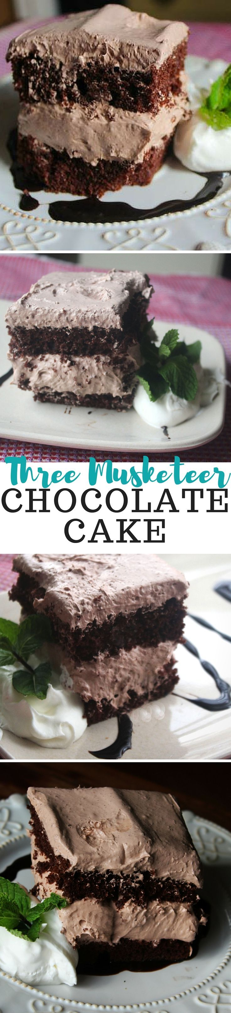 """This chocolate cake recipe is so yummy! The chocolate frosting is creamy and not overly sweet. The filling's a bit thicker and really reminds me of the candy bar."""