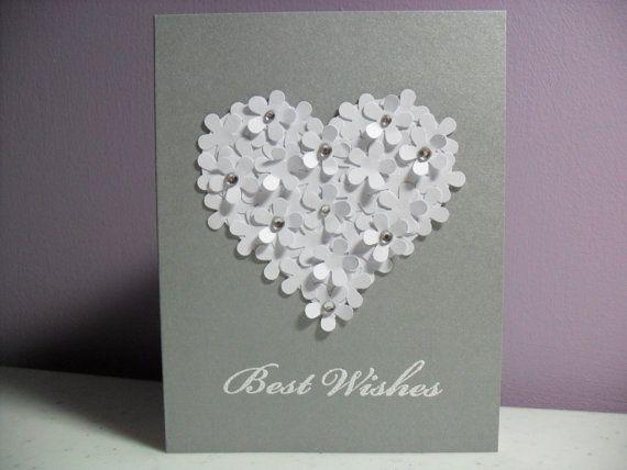 Handmade Engagement/Wedding Card - Best Wishes - Flower Heart Card - BLANK Inside on Etsy, $3.50