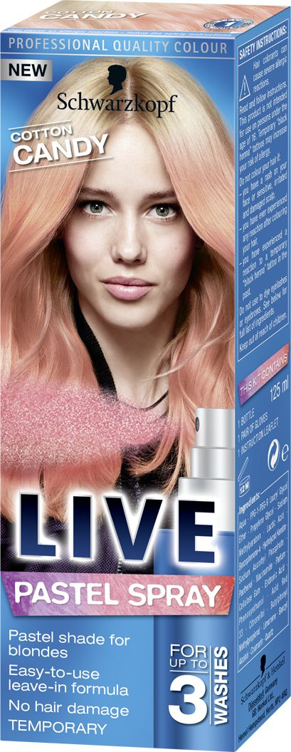 LIVE Pastel Spray Cotton Candy, pink wash out hair dye