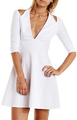 $20, White Cutout Skater Dress: Charlotte Russe Cold Shoulder Halter Skater Dress. Sold by Charlotte Russe. Click for more info: https://lookastic.com/women/shop_items/215258/redirect