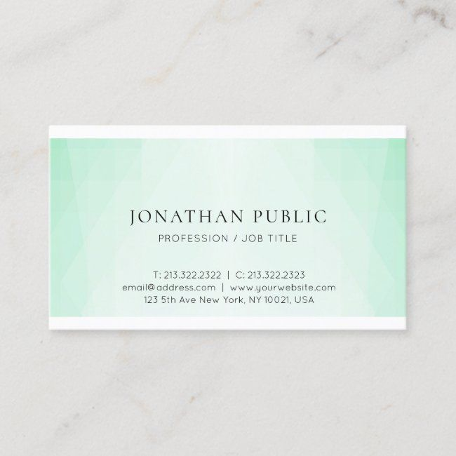 Mint Green Modern Trendy Minimalist Template Business Card Zazzle Com Modern Business Cards Templates Printing Double Sided