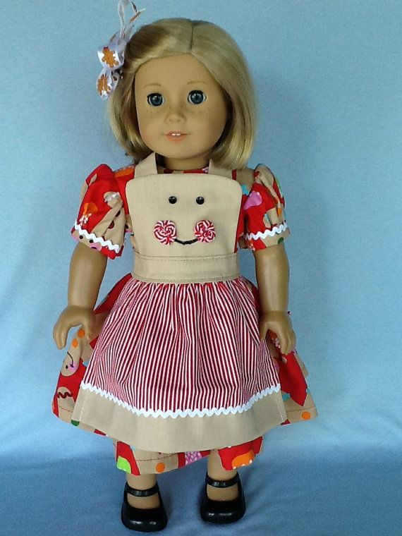 18 inch doll Christmas dress apron and hair clip.. by ASewSewShop