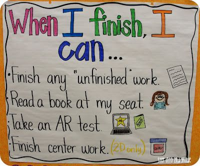 Love the idea of having a visual of what students can do when they have finished an assignment! 8592