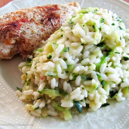 This zucchini risotto recipe is a delicious, vegetable-infused side dish for four or it can be served as a vegetarian main course for two.