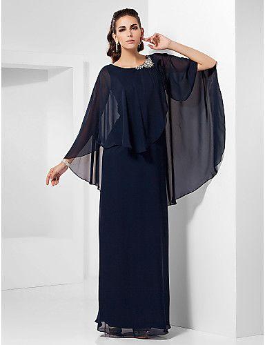 bainha / coluna colher assoalho-comprimento chiffon vestido de noite - GBP £ 136.41
