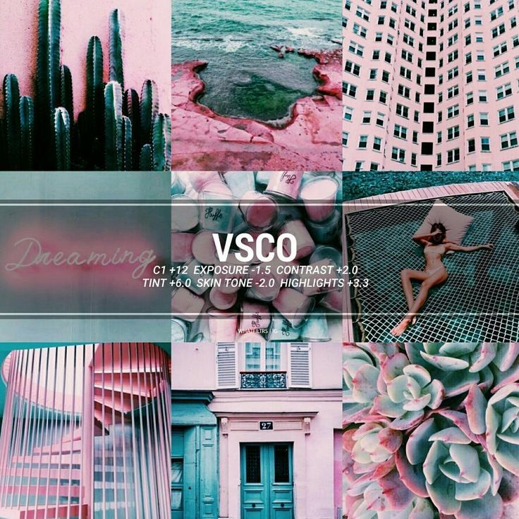 vsco filter & theme ideas PINK TEAL --- Filter type : Contrasted-pink blue green Good for : Pink,blue,green,white,grey etc…