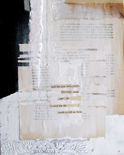 """""""words to fall"""" daily poetry by anca gray. mixed media collage on canvas. 8""""x10"""" 2013"""
