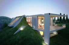 "The Earth House Project by Molos Group  ""The Earth House rises from the earth, and creates a living work of art. This house was inspired by the nature itself, says the designer Ilir Blakçori from MOLOS (a creative agency since 2001 residing in Prishtina, Kosovo), he wanted the house to be by all means in touch with nature, because he believes that the beauty in architecture is a reflection of the beauty of nature itself."