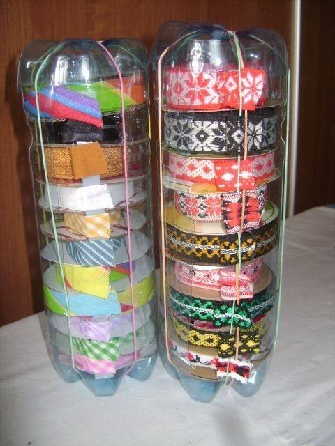Ribbon, duct tape, the amount of storage space those alone take up organized into bags  - organized in plastic bottles (easily store inside cabinet that I keep all my acrylic paints & brushes inl! )