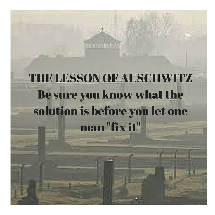 "The lesson of Auschwitz Be sure that you know what the solution is before you let one man ""fix it"" Steve Redmond (@sjredmond) 