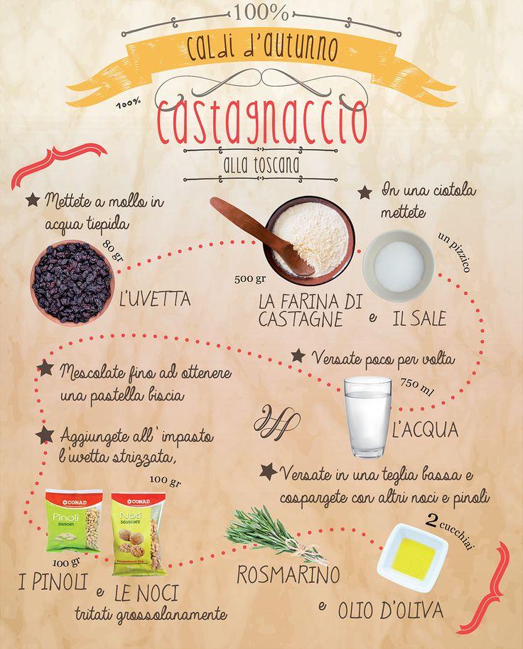 Hai mai assaggiato il #Castagnaccio? È l'ora di provare! Segui la #ricetta in infografica e prova la versione originale #toscana!