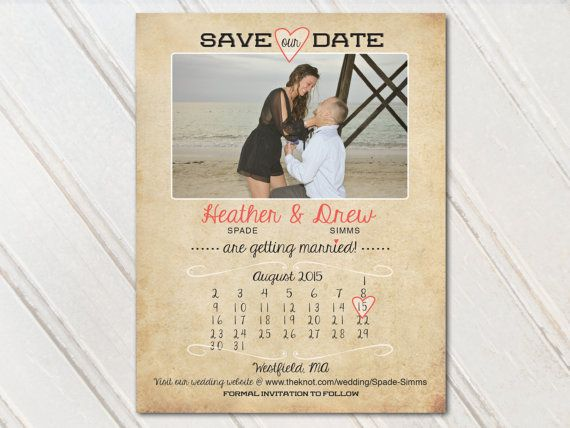 Great for our destination wedding! We love them! Save The Date Dates Photo Magnets Magnet Postcards Postcard Cards Card Coral Peach Blush Orange Pink rustic vintage calendar country beach