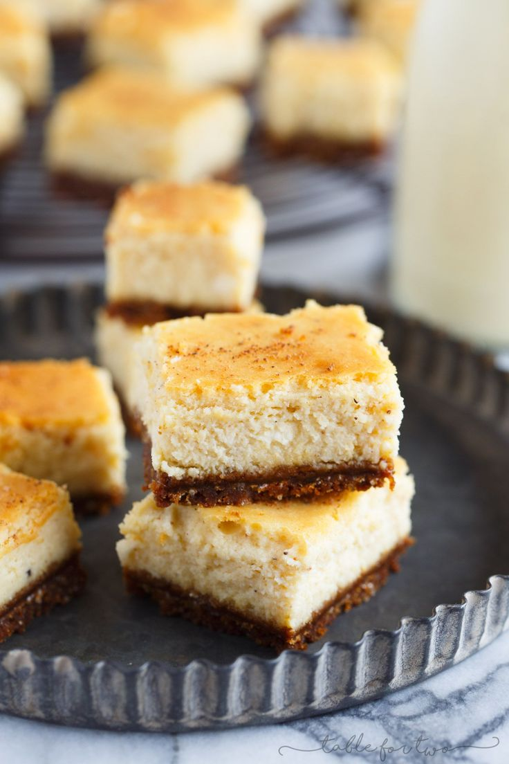 These eggnog cheesecake bites with gingersnap crust are the perfect little desserts to have at your holiday table! They are so cute and irresistible!