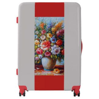 Vintage Floral Bright Country Flowers Painting Luggage