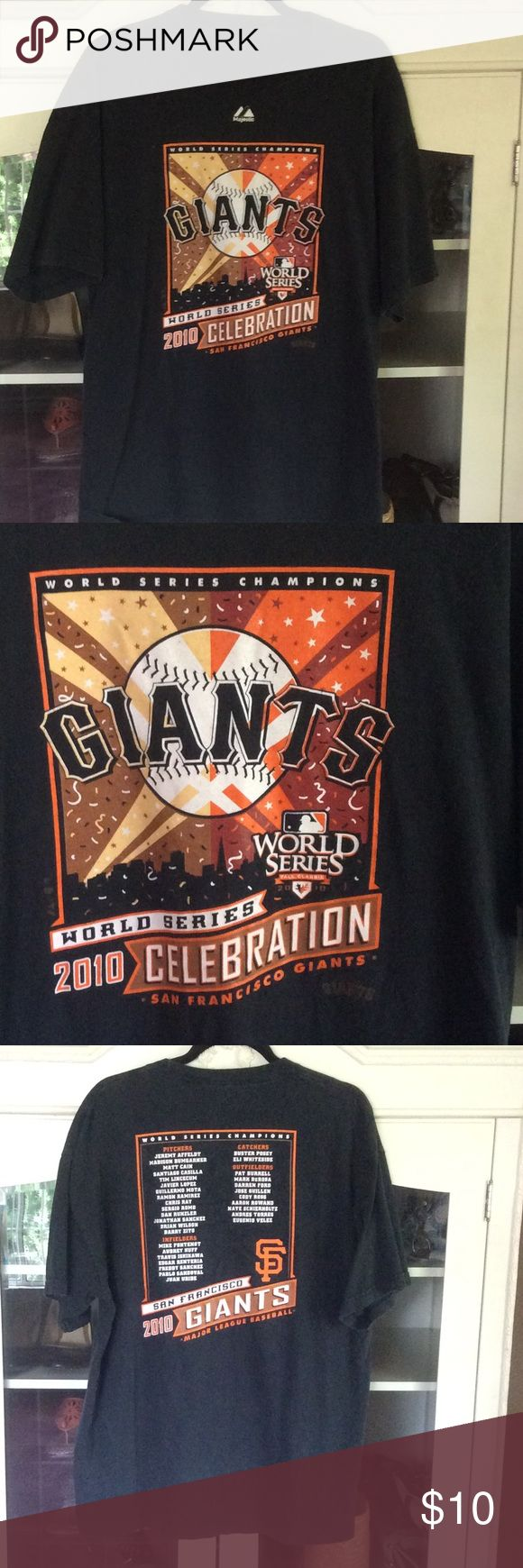 2010 GIANTS Roster Tee 2010 GIANTS Roster Tee, missing tag but fits L-XL, slightly faded, lists 2010 Roster Majestic Shirts Tees - Short Sleeve