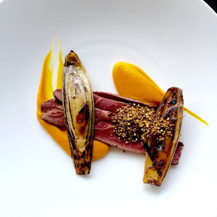 Poached duck breast, carrot purée, chicory, nuts and seeds.