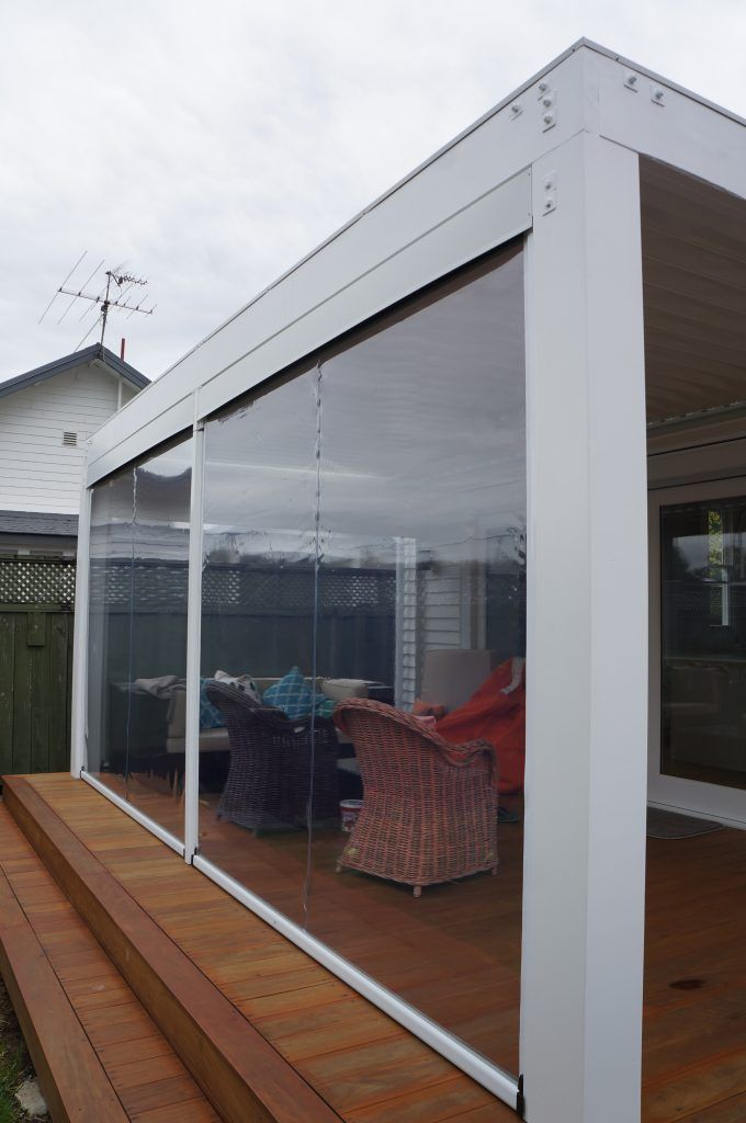 Ziptrak Blinds Down Removable Post In Centre And Full Pelmet At