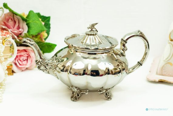 Victorian silver plated Teapot with eagle by FlyingSquirrelNest
