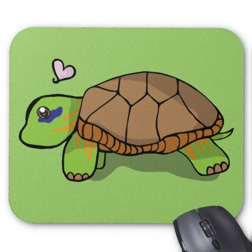 Cute Painted Turtle Blue - Mouse Pad