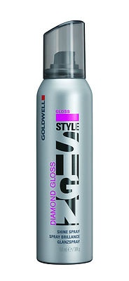 Goldwell Style Sign Diamond Gloss Shine Spray 150 ml / 104 g    Micro-fine spray for enriched, long-lasting radiance        Smoothes stressed or unruly hair      Anti-Frizz effect and color protection    DIRECTIONS: Spray sparingly on dry hair.