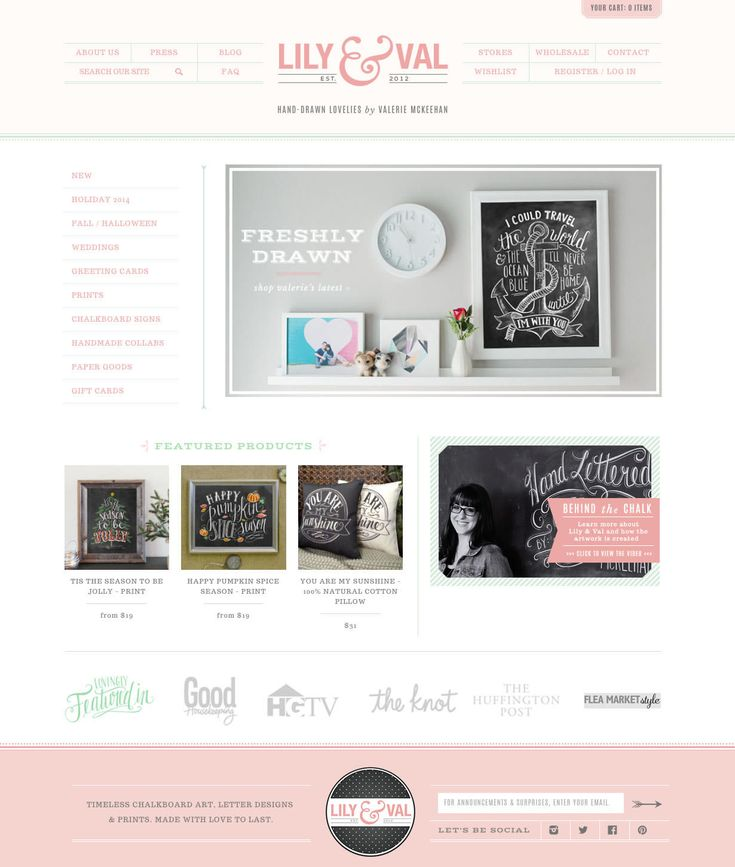 Lily & Val stationery shop web design by Aeolidia