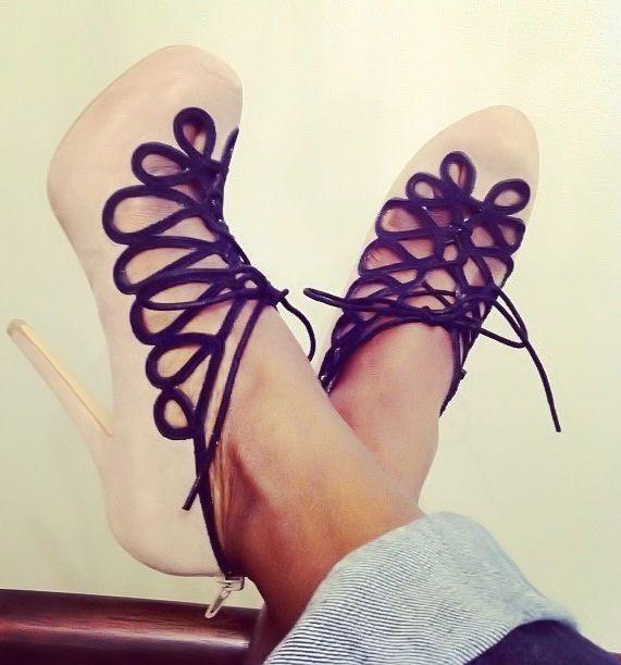Blush Cut-Out Lace-Up Heels ♥ L.O.V.E.
