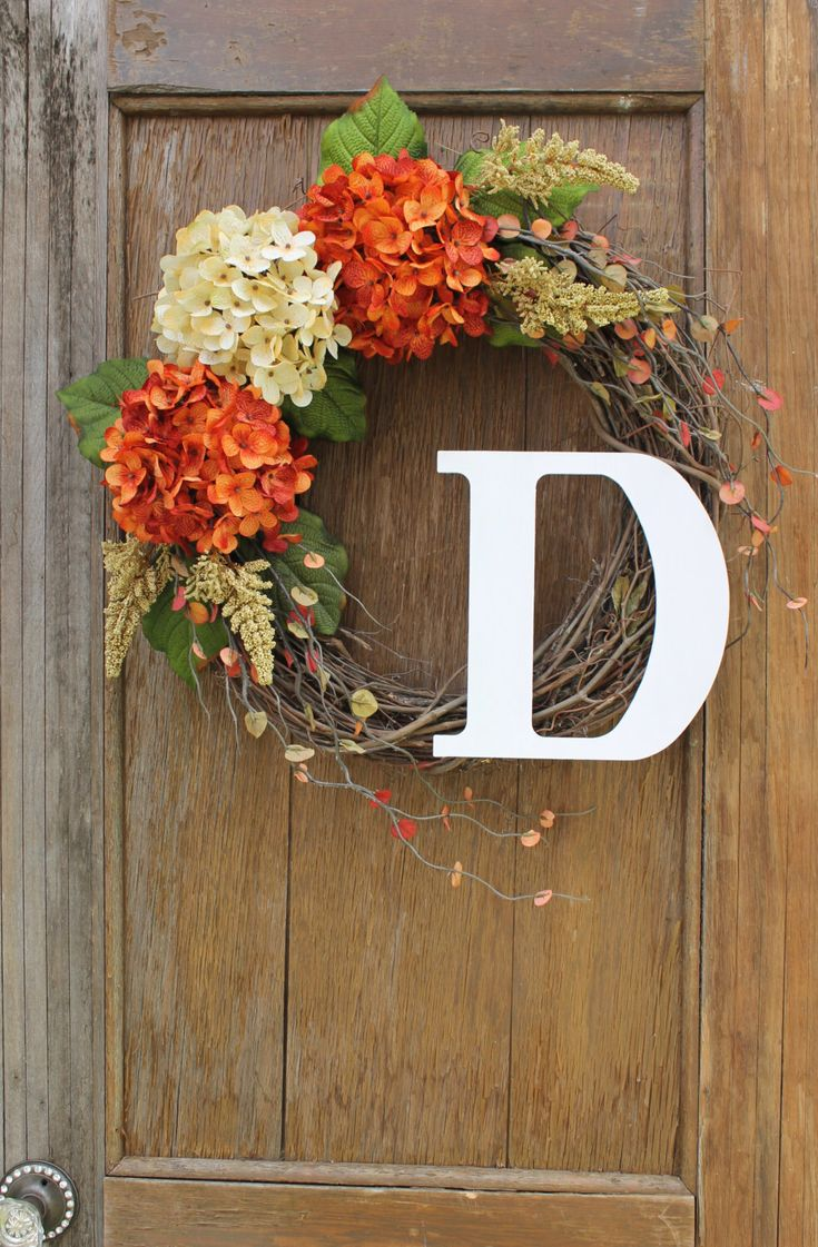 Check these awesome homemade wreaths out! Fall Wreath, Initial Wreath, Hydrangea Wreath, Fall Hydrangea Wreath, Monogram…