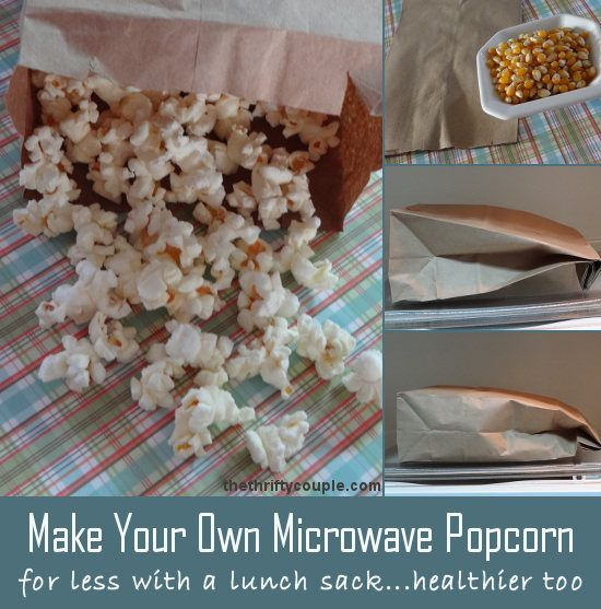 Instant Homemade Microwave Popcorn with just a brown bag, popcorn kernals and a couple of minutes and you're done making perfect popped corn! YUMMY!