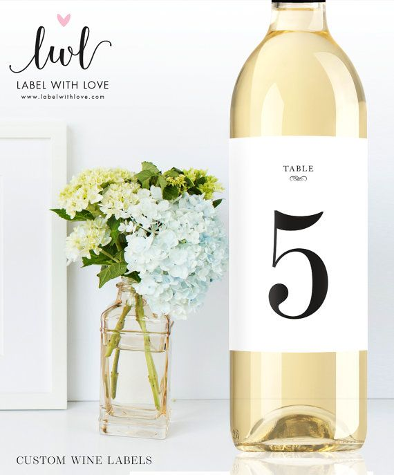 Wine Bottle Table Numbers - Self Adhesive Weatherproof Wine Labels - Elegant Sophisticated Wedding Decorations - Wedding Trends 2016