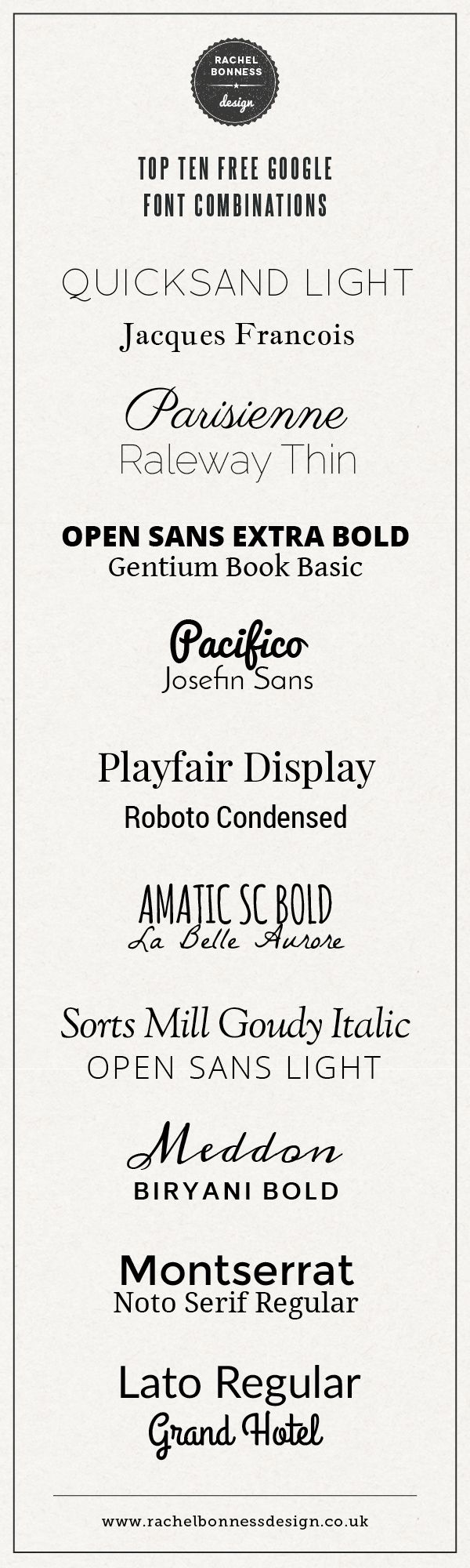 10 combinaisons de typo gratuites Google pour votre blog / Top Ten free Google font combinations by Rachel Bonness Design #fontpairing #fontcombination #googlefont