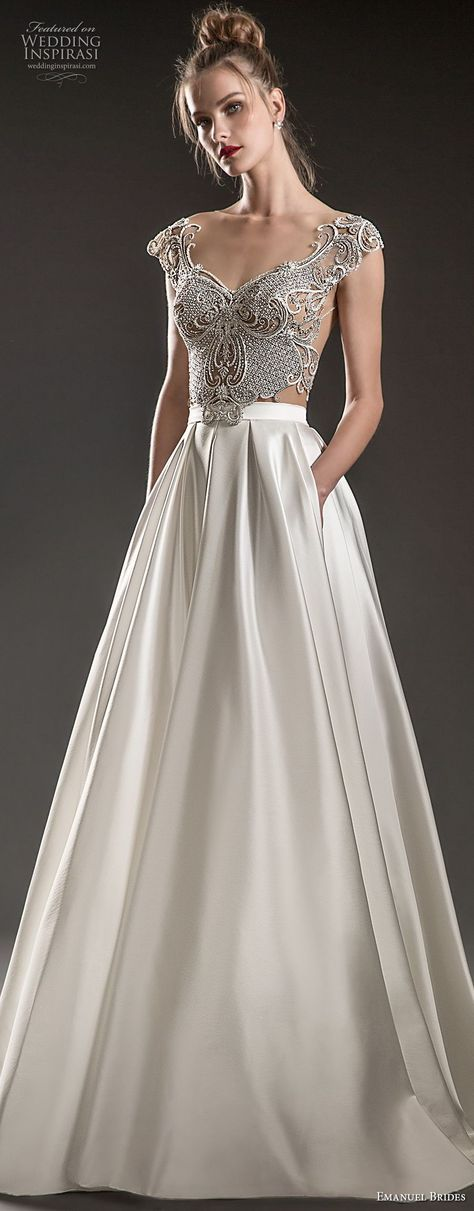 emanuel brides 2018 bridal cap sleeves sweetheart neckline heavily embellished bodice satin skirt glamorous a line wedding dress with pockets sweep train (14) mv