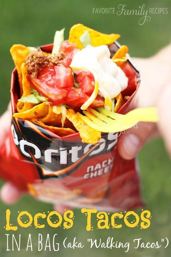 These tacos in a bag are the best thing ever for camping, reunions, block parties... you name it. They are cheap, tasty, and clean up is a snap!