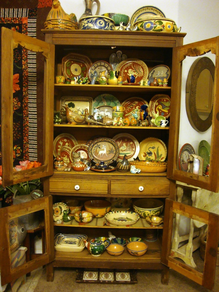 My Vintage Mexican Pottery in my Antique Pie safe. - 51 Best Mexican Folk Art Images On Pinterest Mexicans, Brazil