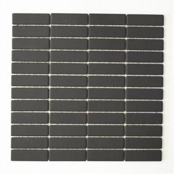 Mosaik Stäbchen uni schwarz unglasiert rutschhemmend R10 30x