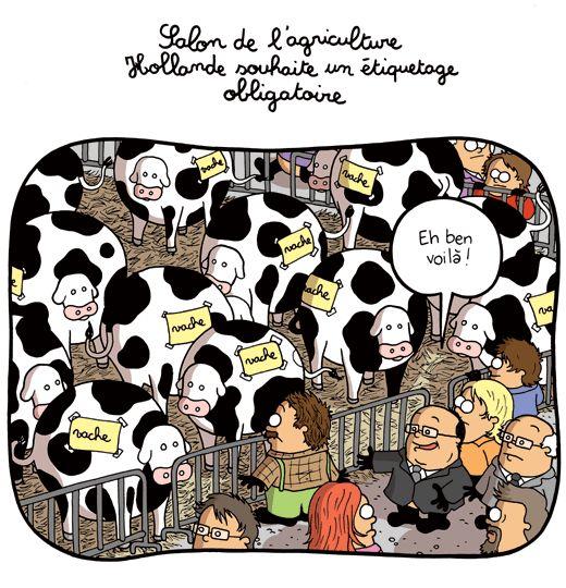 Salon de l'agriculture : Hollande souhaite un étiquetage obligatoire