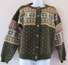 Kaare Giose Norway Norwegian Wool Fair Isle Nordic Cardigan Sweater Sz L