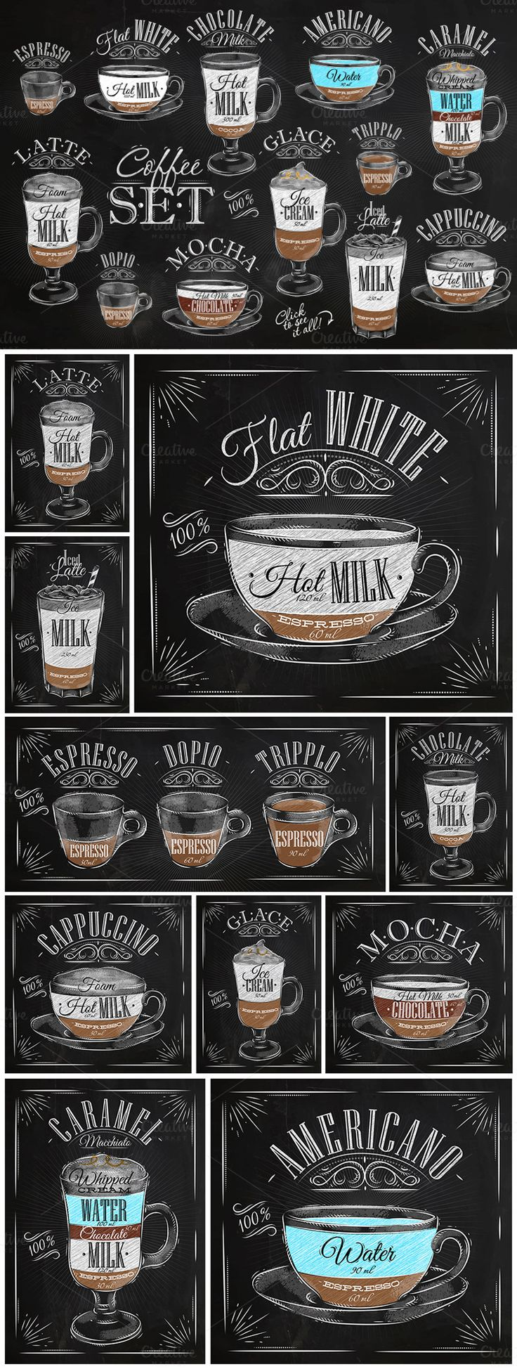 Set Coffee: Set of coffee drinks with names, drawing in vintage style on different background (chalk on a blackboard, on white dirty paper and kraft background). More
