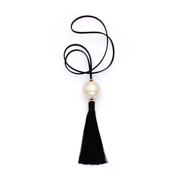 White Ceramic Ball/Black Fringe Pendant