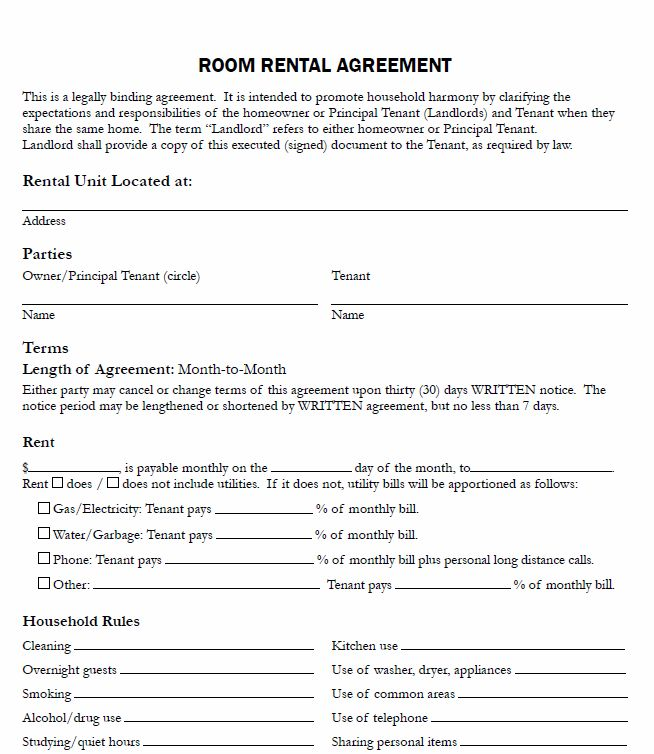 room rental agreement template 28 images sle room rental – Residential Rent Agreement Format