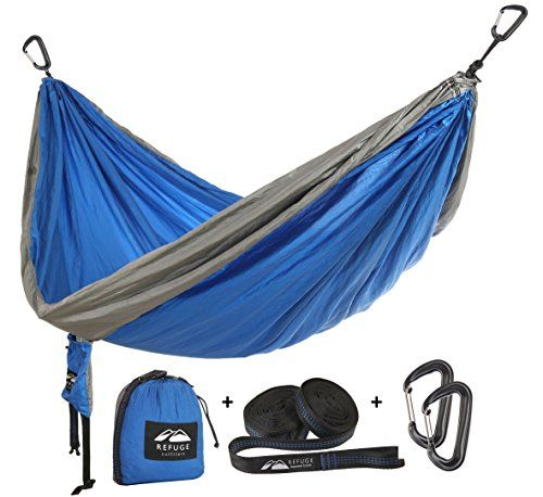 Double Camping Hammock with FREE Hammock Straps for Tree and lb Carabiners for Camping, Hiking, Highlining with by Refuge Outfitters—Startup with a Mission to Give Back! 2000 *** Find out more at the image link. #CampingFurniture