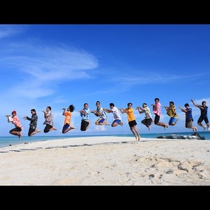 having fun on an empty island named Gusung Island, Derawan Islands, East Kalimantan, INDONESIA