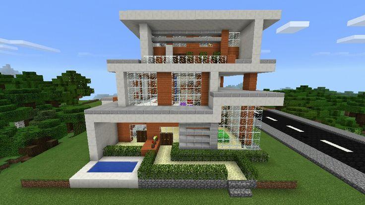 Casa moderna con cascada minecraft minecraft creaciones for Casa moderna survival minecraft